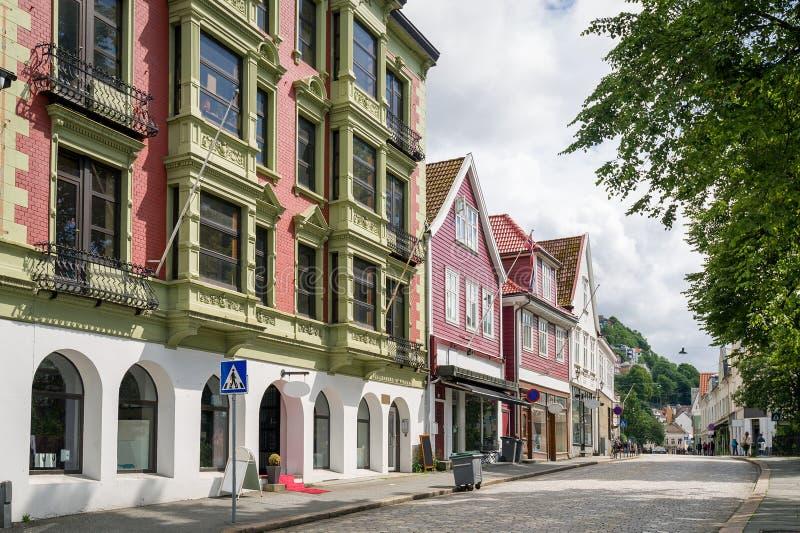 Historisch centrum van de stad van Bergen, Noorwegen royalty-vrije stock fotografie