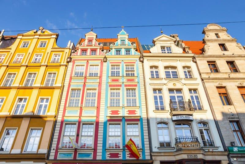Historisch centrum van oude stad in Wroclaw, Polen stock afbeelding