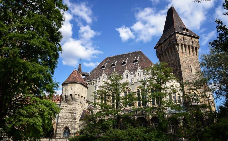 Historisch de bouwvajdahunyad Kasteel met meer over de blauwe hemel in hoofdstadspark Het heeft Romaans, Gotisch stock foto