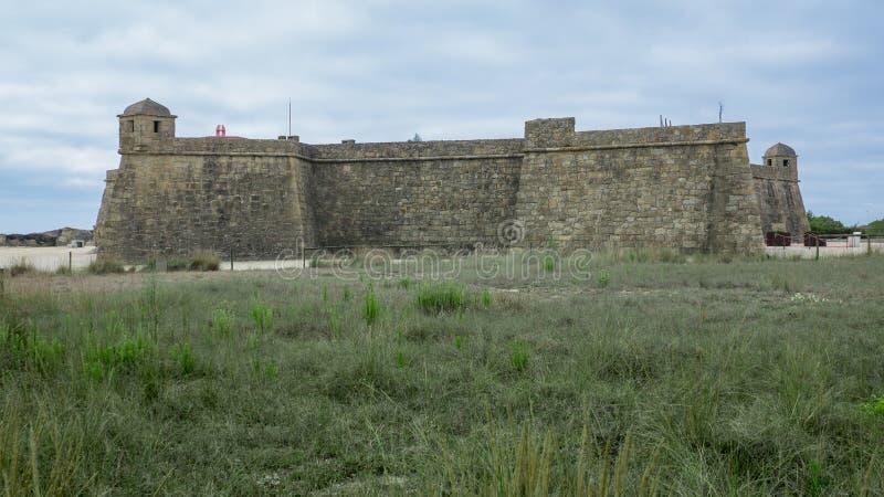 Historisch de 17de eeuw kustfort in Vila do Conde, Portugal royalty-vrije stock afbeelding