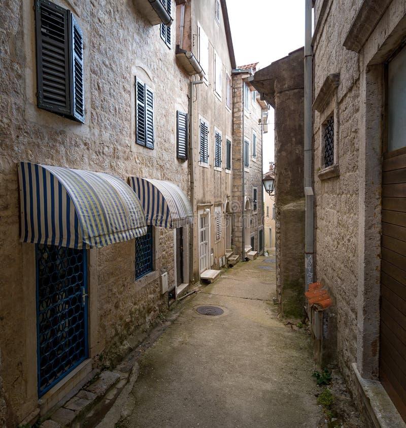 Historisch deel van de oude stad van Herceg Novi stock foto