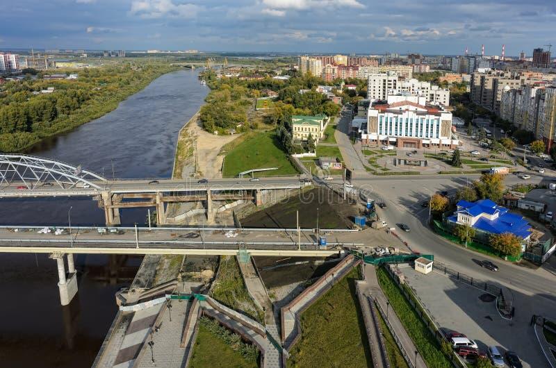 Historisch en modern gebied Tyumen Rusland stock foto