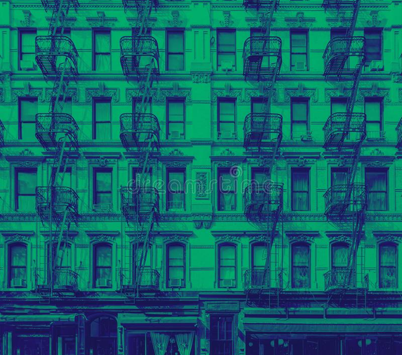 Historisch flatgebouw in de Lagere Kant van het Oosten van de Stad van Manhattan New York stock foto