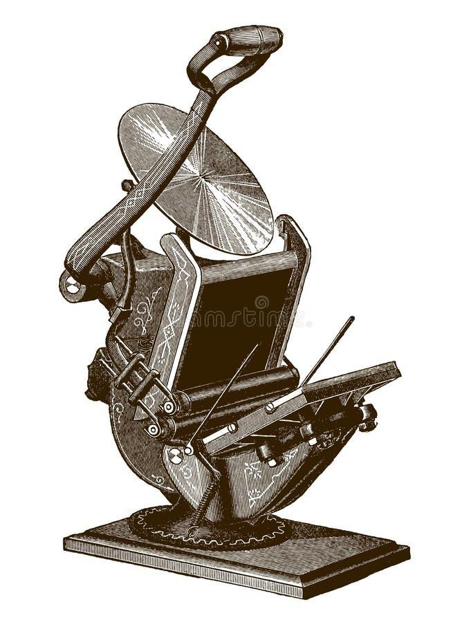 Historisch handbetätigte Tischdruckmaschine stock abbildung