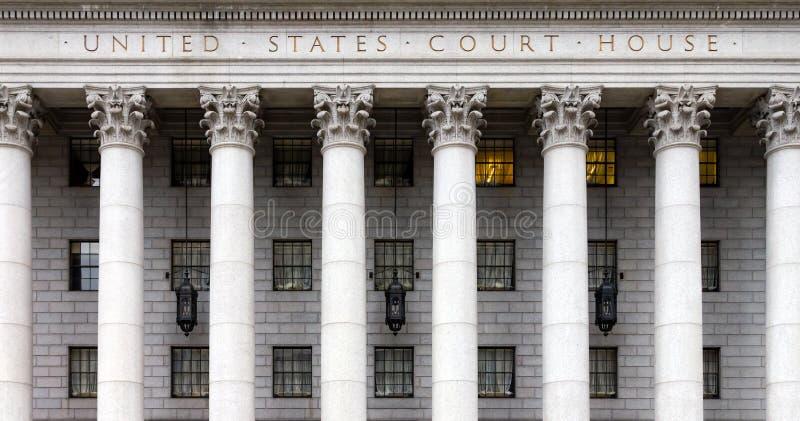 Historisch het Hof van Verenigde Staten Huis in de Stad van New York stock afbeeldingen