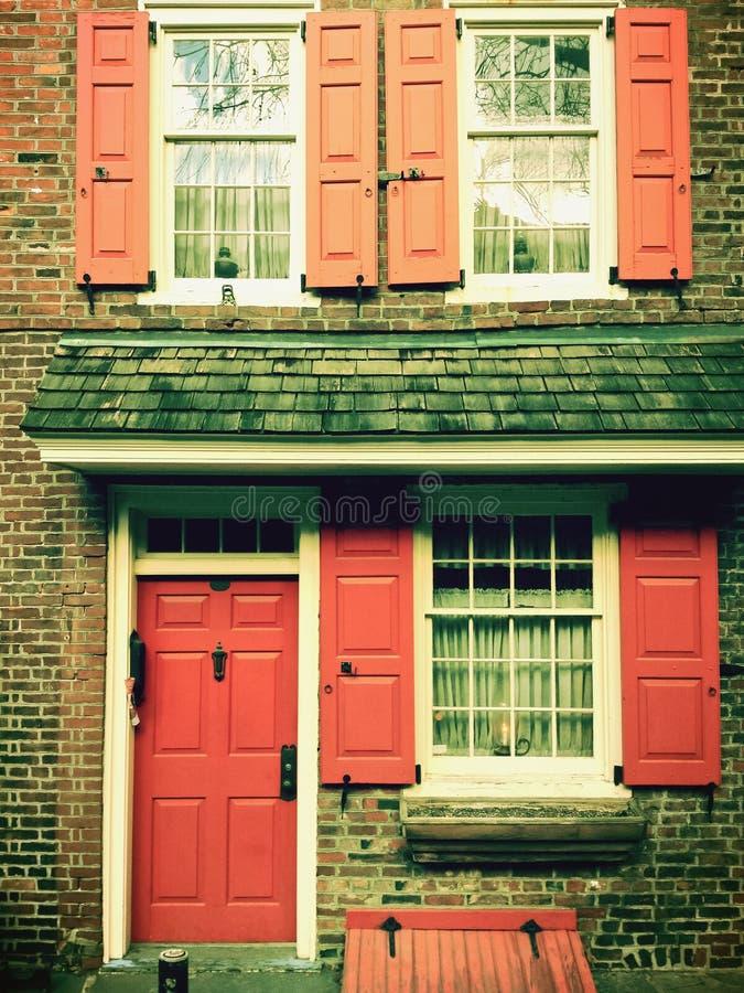 Historisch huis bij de Steeg van Elfreth in Philadelphia stock foto's