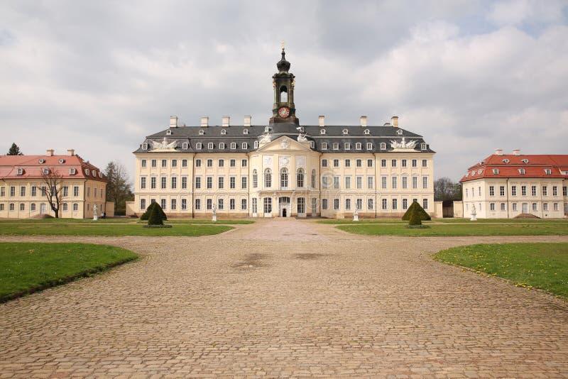 Historisch Kasteel Hubertusburg in Saksen, Duitsland stock foto's