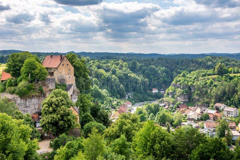 Historisch kasteel van Pottenstein stock foto's