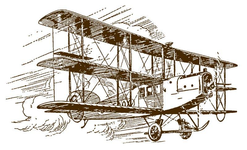 Historisch kommerzielles Einmotortriflugzeug-Triflugzeug mit bewölktem Himmel Illustration auf blauem Hintergrund nach einer Lith vektor abbildung