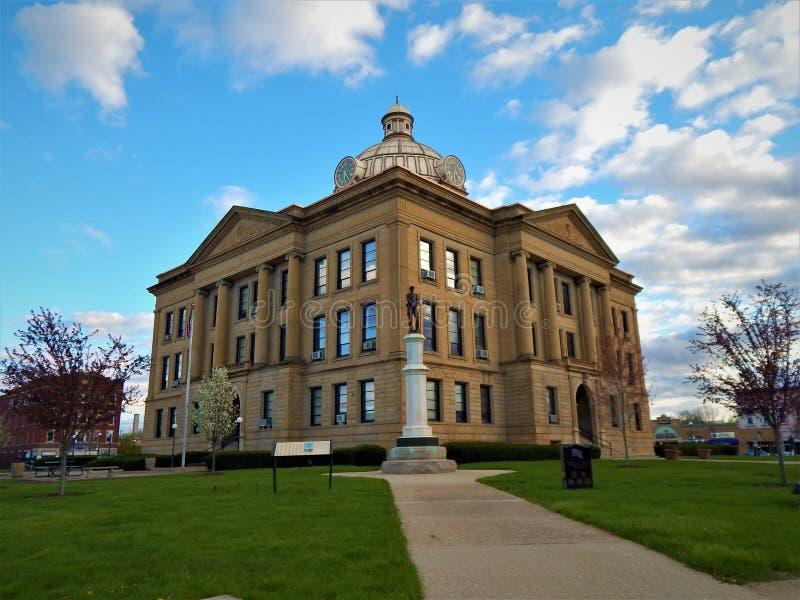 Historisch Logan County-gerechtsgebouw Lincoln Illinois royalty-vrije stock afbeelding