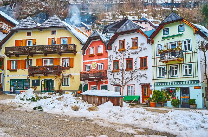 Historisch Marktvierkant, Hallstatt, Salzkammergut, Oostenrijk stock foto