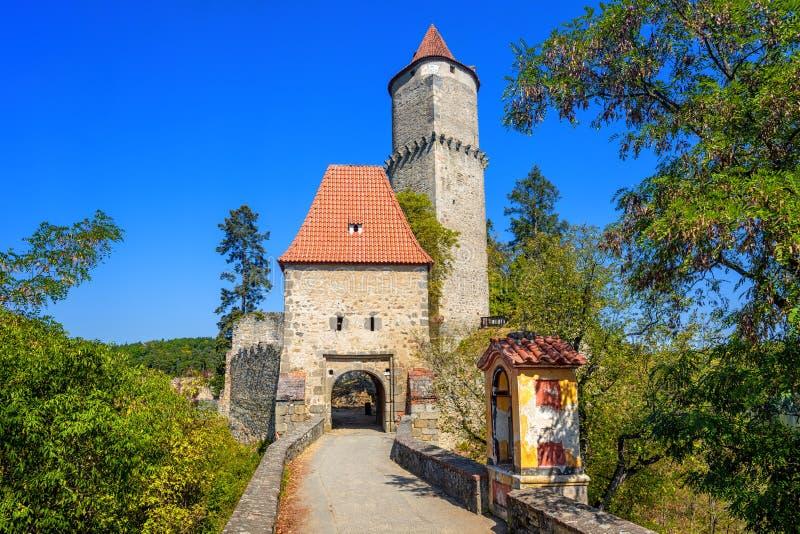 Historisch middeleeuws gotisch kasteel van Zvikov, Tsjechische Republiek stock foto's