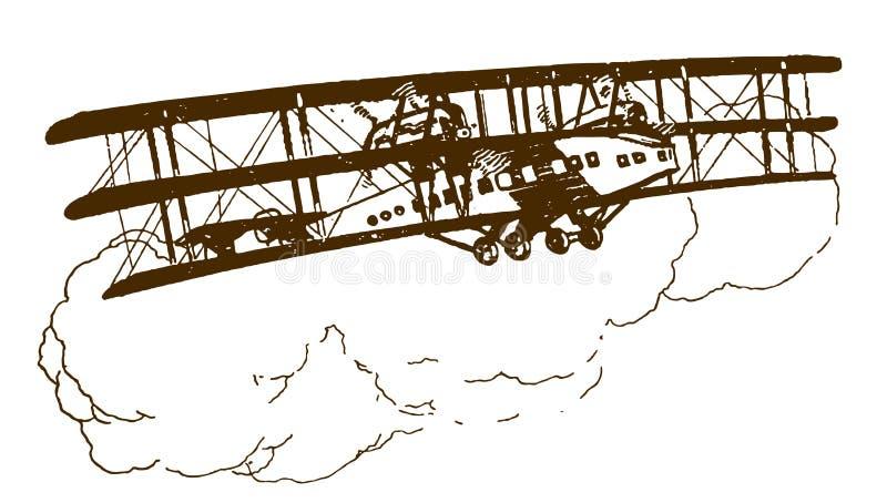 Historisch mit Propeller angetriebenes Dreiflugzeug, das vor großen Cumulus-Wolken fliegt lizenzfreie abbildung