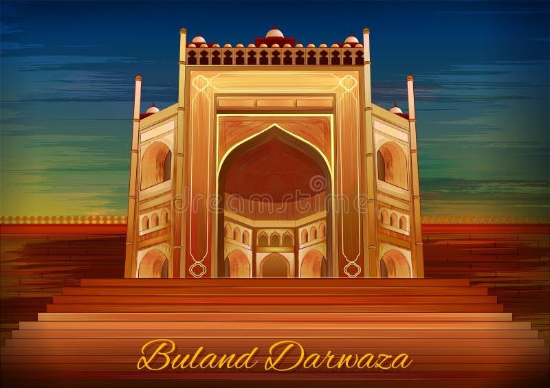 Historisch monument Buland Darwaza in Fatehpur Sikri Agra, Uttar Pradesh, India royalty-vrije illustratie