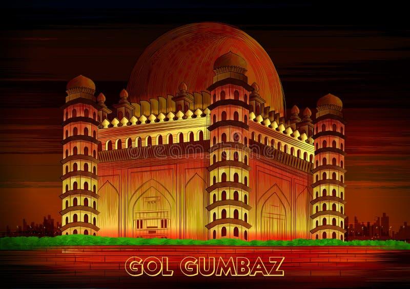 Historisch monument Gol Gumbaz in Vijayapura, Karnataka, India vector illustratie