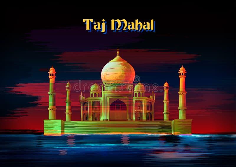Historisch monument Taj Mahal in Agra, Uttar Pradesh, India stock illustratie