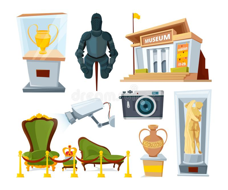 Historisch museum met divers vertoningstentoongesteld voorwerp stock illustratie