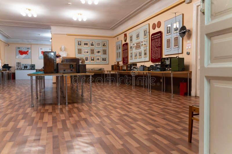 Historisch Museum van radiopopov in Kronstadt 17 St. Petersburg van Maart 2019, Kronstadt Rusland binnenland en tentoongestelde v stock afbeelding