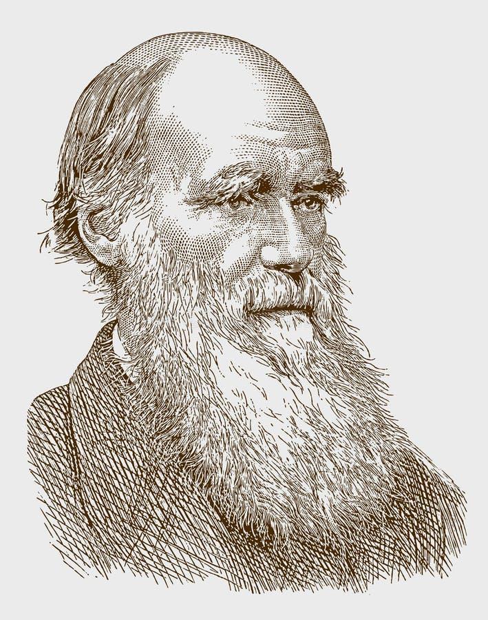 Historisch portret van Charles Darwin de wetenschapper stock illustratie