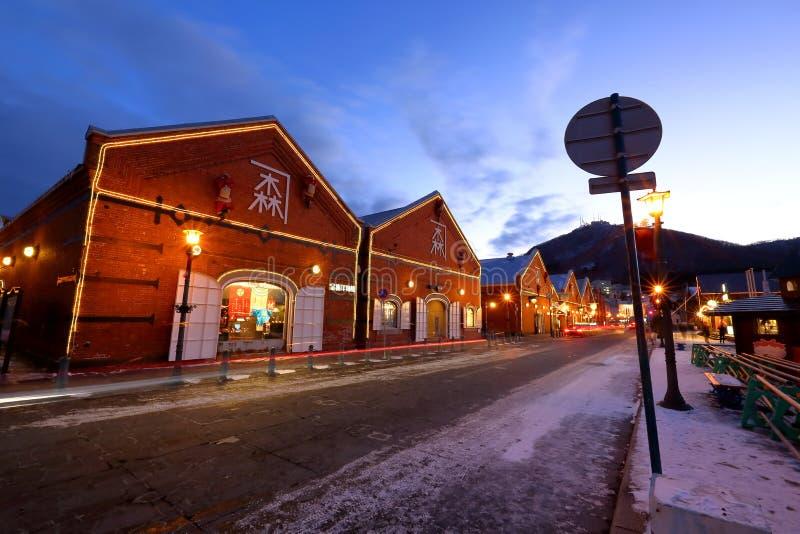 historisch rood baksteenpakhuis, Hakodate royalty-vrije stock foto