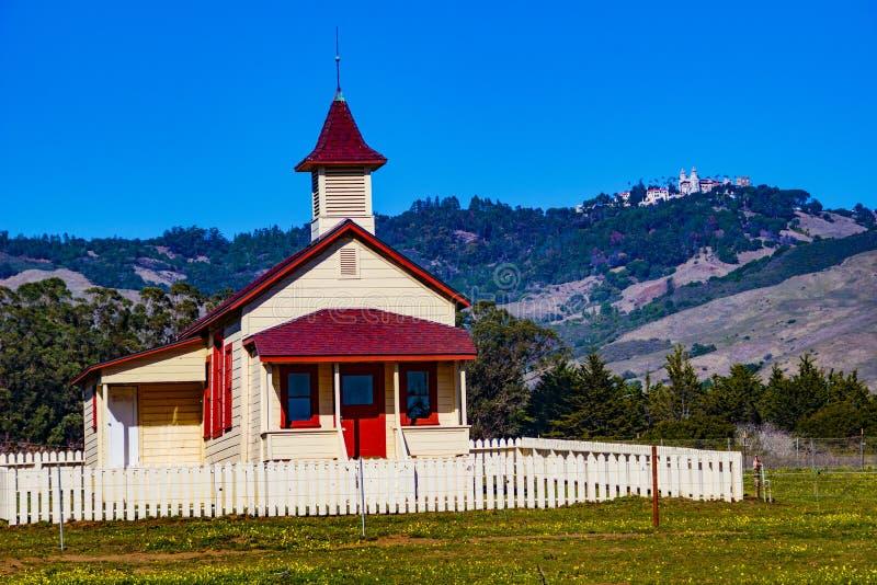 Historisch San Simeon Village Schoolhouse royalty-vrije stock foto's