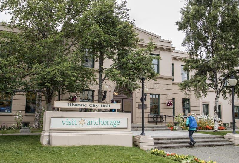 Historisch Stadhuis in Anchorage, Alaska stock foto's