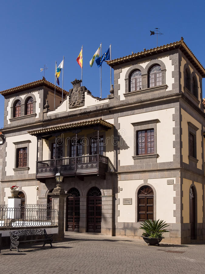 Historisch Stadhuis in Gran Canaria, Spanje stock foto's