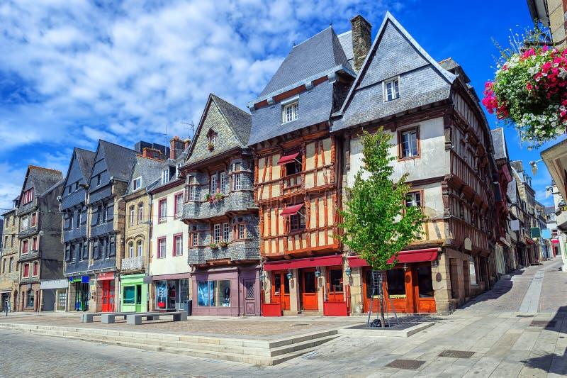 Historisch stadscentrum van Lannion, Bretagne, Frankrijk stock foto's