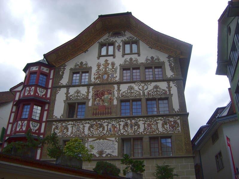 Historisch stadscentrum van Luzerne met mooie beaildings, Luzern, Zwitserland stock fotografie