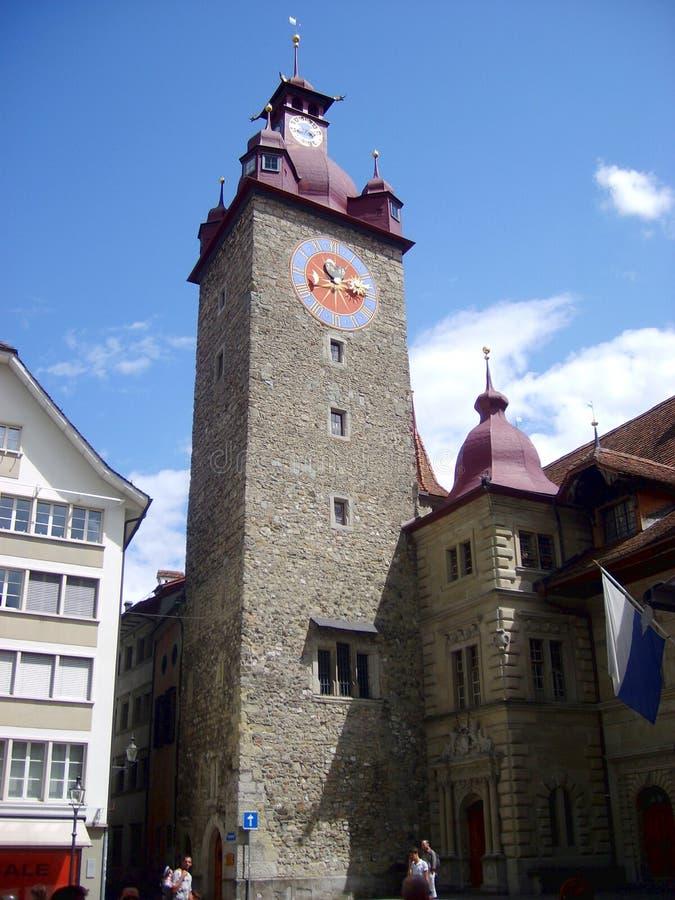 Historisch stadscentrum van Luzerne met mooie toren, Luzern, Zwitserland stock afbeeldingen