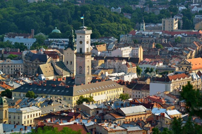 Historisch stadscentrum van Lviv stock afbeeldingen