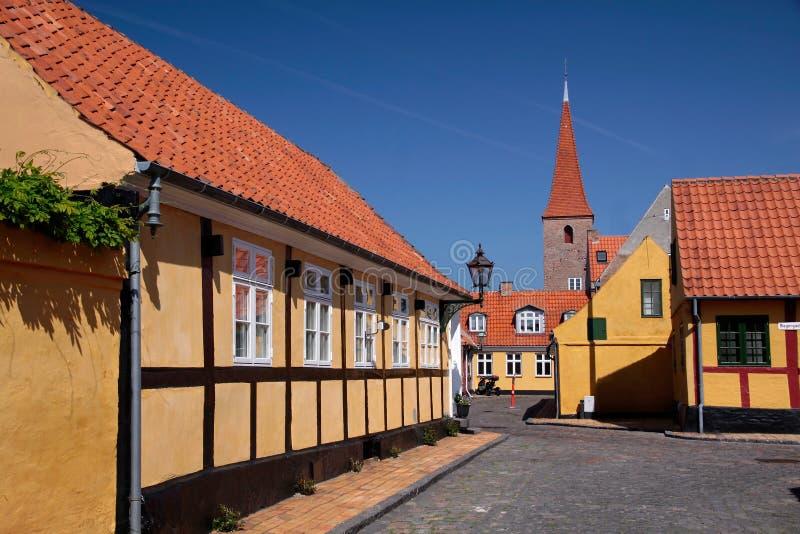 Historisch stadscentrum van Roenne op Bornholms stock afbeeldingen