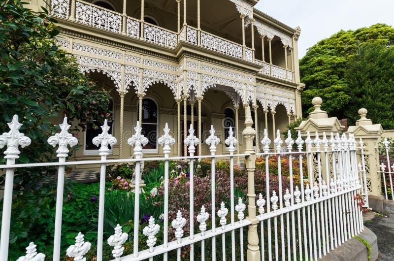 Historisch terrashuis in Oost-Melbourne in Australië royalty-vrije stock foto's