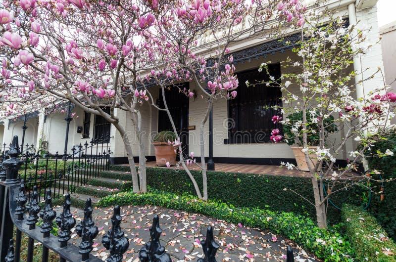 Historisch terrashuis in Oost-Melbourne in Australië stock fotografie