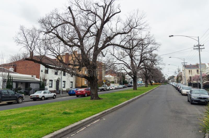Historisch terrashuis in Oost-Melbourne in Australië royalty-vrije stock foto