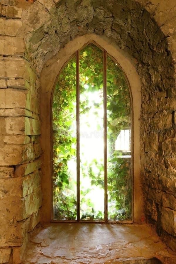 Historisch venster met steenboog royalty-vrije stock fotografie