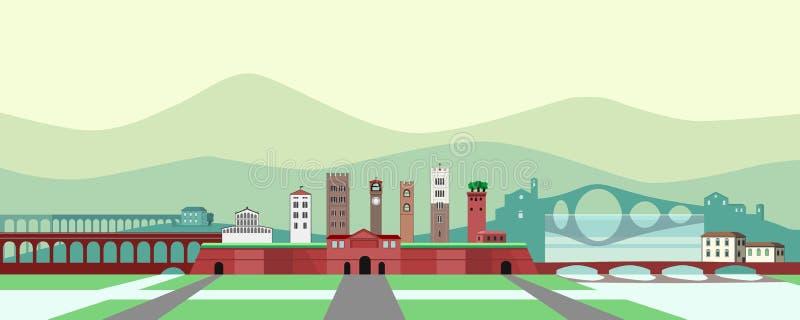 Historisch weinig stad in Toscanië vector illustratie