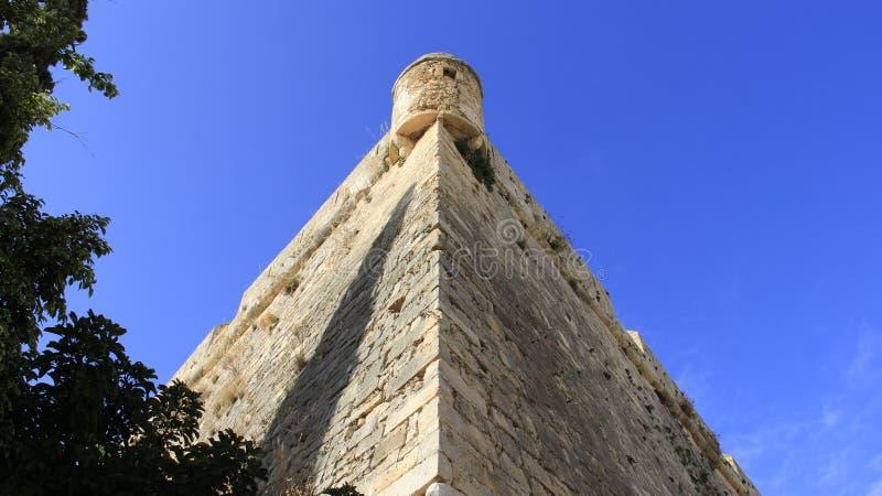 Historische alte Stadt von Rethymno Steinbastion stockbilder