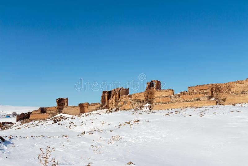 Historische Ani Ruins- und Winter-Landschaften, Kars, die Türkei lizenzfreie stockfotos