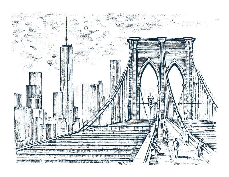 historische Architektur mit Gebäuden, Perspektivenansicht Stilisiert alte Fotos Brooklyn-Brücke, New York gravierte Hand vektor abbildung