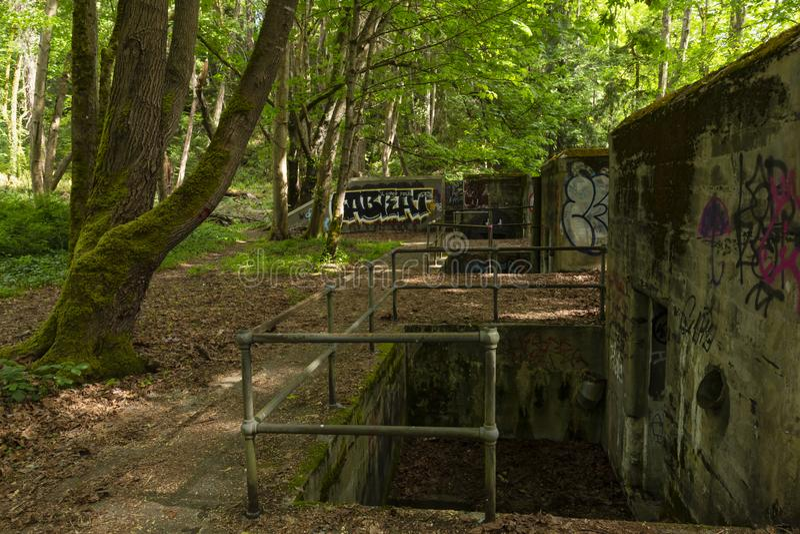 Historische Artilleriebatterie Thornburgh des Fort-Bezirks stockfotos