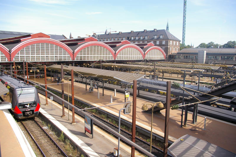 Historische Bahnstation von Kopenhagen, Dänemark stockbild