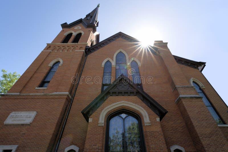Historische baksteenkerk stock fotografie