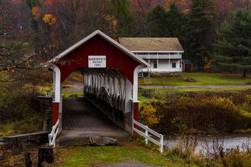 Historische Barronvale-überdachte Brücke - Autumn Splendor - Somerset County, Pennsylvania stockfotografie
