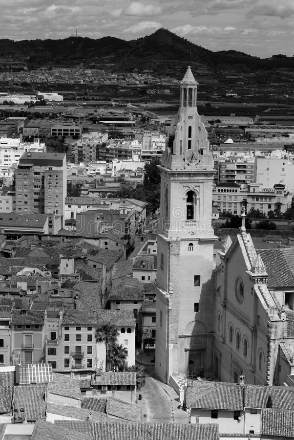 Historische basiliek in Xativa stock fotografie