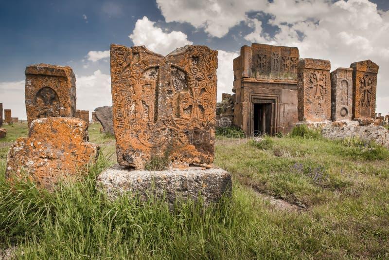 Historische begraafplaats van Noratus in Armenië stock foto's
