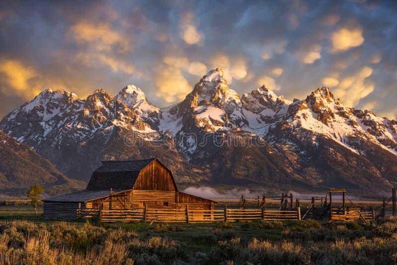 Historische boerderij, Teton-Waaier, Wyoming royalty-vrije stock fotografie