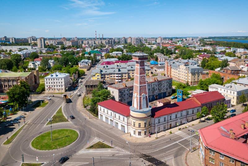 Historische brand-toren van Rybinsk, Yaroslavl oblast, Rusland royalty-vrije stock foto