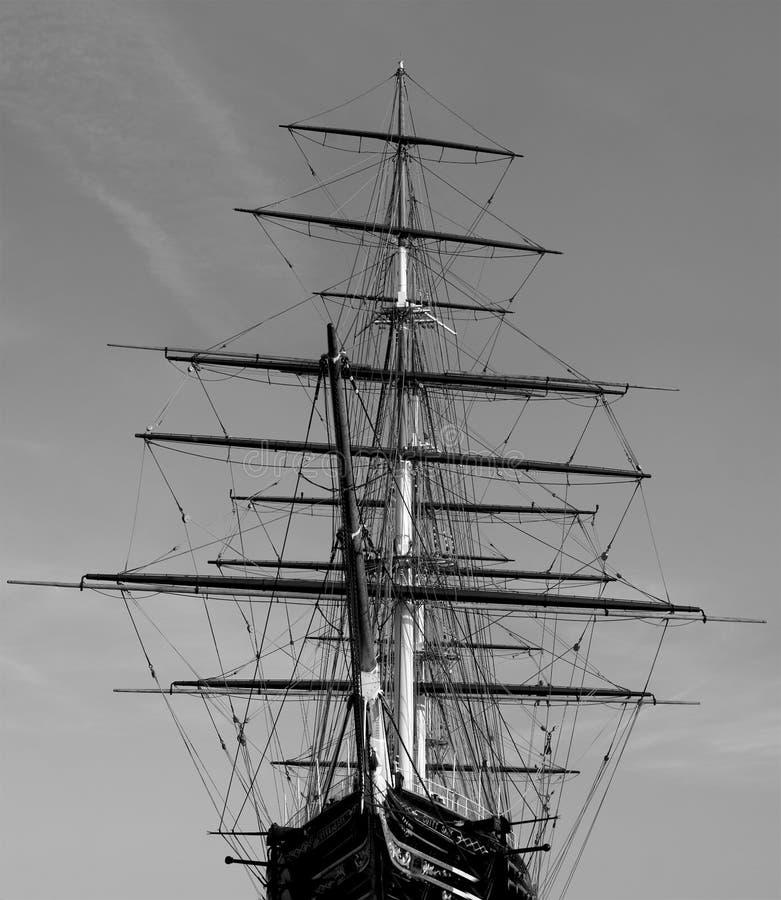 Historische Britse die schipzeilen in dok worden geparkeerd stock afbeelding