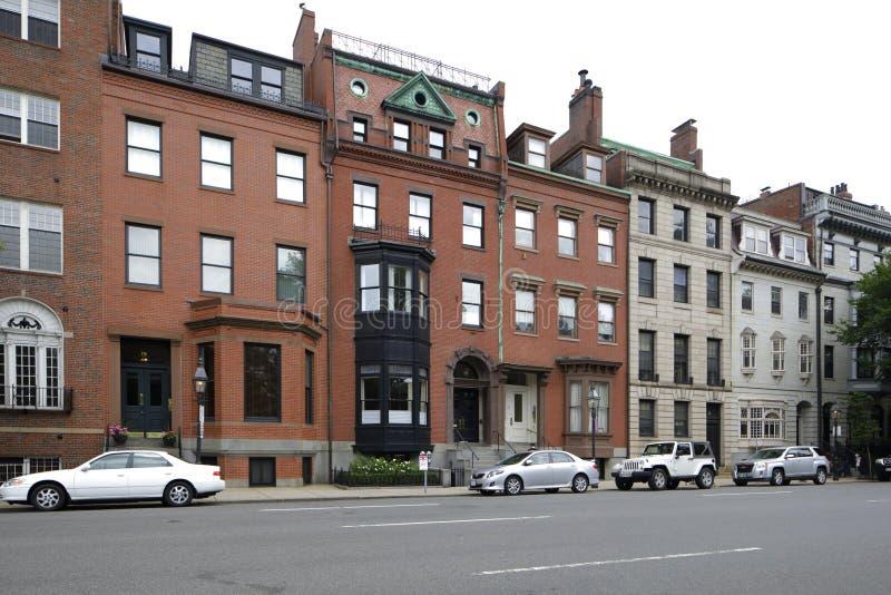 Historische Brownstonearchitektur Boston lizenzfreie stockfotografie